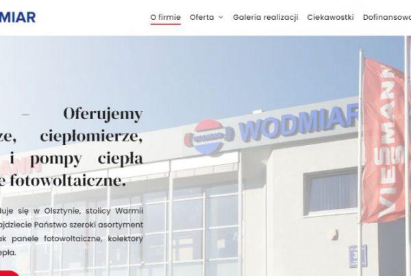 projekt strony internetowej firmy wodmiar z Olsztyna